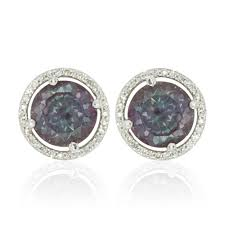 earring studs lab alexandrite earring studs with shaped diamond halo