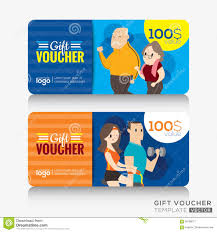 senior citizen gifts fitness center coupon voucher or gift card design template