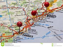 Monte Carlo Map Cote D U0027azur On A Map With Push Pins Stock Photo Image 32211420
