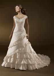 the wedding dress a line shoulder multi layer satin lace wedding dress