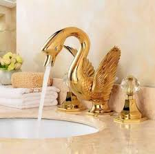 Swan Bathroom Faucet Fashion Swan Bathroom Basin Faucet Deck Mounted Bath Mixers Gold