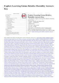 explore learning gizmo relative humidity answers key