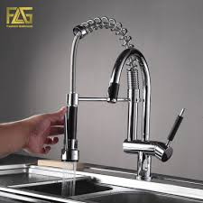 flg spring style kitchen faucet hand spray chrome cast deck