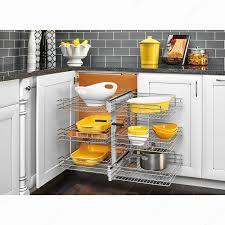 armoire en coin cuisine système coulissant pour armoire de coin à 3 niveaux