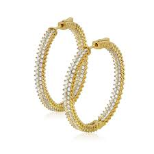 gold diamond hoop earrings large gold diamond hoop earrings w row chandi diamonds by