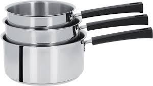 batterie de cuisine cristel lot de 3 casseroles inox à poignée mutine fixe cristel
