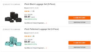 home depot black friday luggage coupons and freebies ipack 5 piece luggage sets 9 97 at home