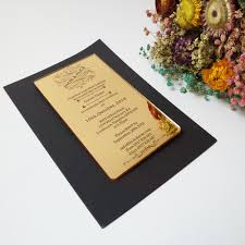 Golden Wedding Invitation Cards Aliexpress Com Buy Customized 100 180mm Laser Engraved Letters