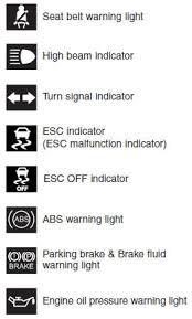 kia warning lights symbols hyundai elantra indicator symbols on the instrument cluster