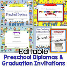 preschool graduation invitations preschool diplomas certificates graduation invitations editable