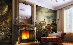 charming victorian living room decor using antique mirror wall