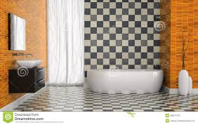 interior of modern bathroom with black and white tiles wall stock