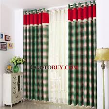 Country Plaid Valances British Country Style Mediterranean Plaid Blackout Curtain In