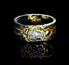 large silver rings images Raw is best a large silver raw diamond set in an 18k gold bezel jpg