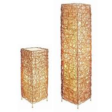 ore furniture wicker 2 piece table and floor lamp set walmart com