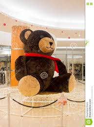 decoration teddy bear in shopping mall christmas eve editorial