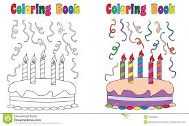 coloring book birthday cake stock vector image 53465383