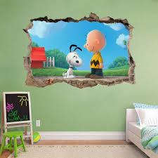 snoopy wall stickers ebay the peanuts movie snoopy charlie brown smashed wall decal wall sticker art h492
