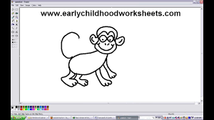 easy drawing a monkey step by step for kindergarten kids youtube