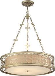 Elk Pendant Lights Elk 31524 5 Santa Monica Aged Silver Drum Pendant Light Fixture