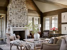 Stone Wall Living Room by Rustic Lake House Retreat In Alabama Stone Wall Fish Camp