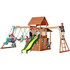 backyard discovery slide amazon com backyard discovery saratoga all cedar wood playset