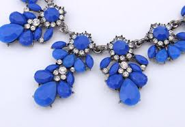 coloured statement necklace images Fashion bib choker necklace fluorescence yellow colors crystal gem jpg