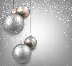 silver christmas abstract background with silver christmas balls vector