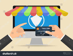 Store Business Credit Cards Businessman Hands Holding Credit Card Online Stock Vector