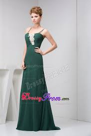 green prom holiday dress with spaghetti straps in dark green