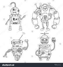 vector illustration robot mechanical character design stock vector