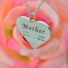 Mom Necklaces With Children S Names Mothers Heart Family Name Necklace Silver Personalized Moms Name