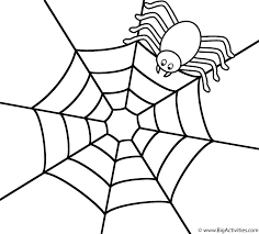 Halloween Drawing Activities Spider On The Top Of Web Coloring Page Halloween