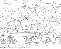 coloringpagelandscape happy family art