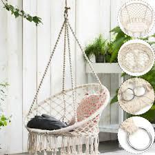 Swing Patio Furniture Garden Hanging Hammock Cotton Woven Wooden Bar Swing Patio