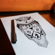 simple geometric black line owl tattoo design tattooimages biz