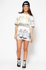 rihanna style bear and boots oversized t shirt dress
