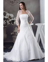 wedding dress jacket strapless organza lace wedding dress with 3 4 sleeves jacket