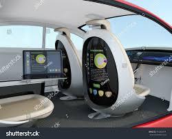 autonomous car interior concept rear screen stock illustration