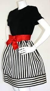 bill blass vintage black and white stripe dress w red bow belt at