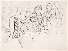 1969 photolithograph henri matisse two women sketch modern