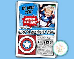 avengers invitation with photo birthday party custom printable