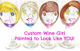 champagne glass cartoon custom wine leslie hand painted glass