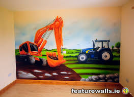tractor and digger murals for boys hand painted by featurewalls ie