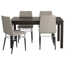 ikea dining room sets preben bjursta table and 4 chairs brown black tenö light grey 140