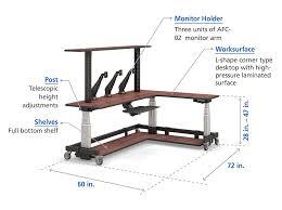 L Shaped Adjustable Height Desk L Shape Computer Desk With Overhead Shelf Afcindustries Com