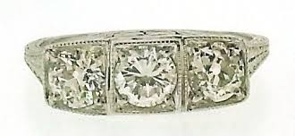 art deco diamond 3 stone platinum ring
