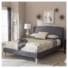 Baxton Studio Bed Fannie French Classic Modern Style Polyester Fabric Platform Bed