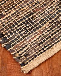 Area Rugs Natural Fiber Cosmo Jute Leather Rug W Free Rug Pad Natural Fiber Rugs Natural