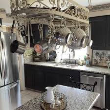 Kitchen Island With Hanging Pot Rack Kitchen Scenic Hanging Pans In Kitchen Island Pot Hanger Rack